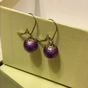 Jewelry - Beautiful Sterling Silver Purple Ball Earrings